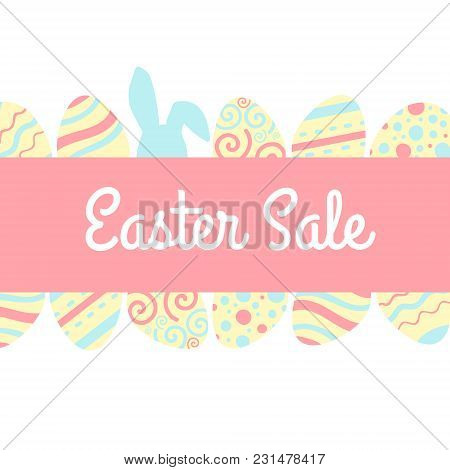 Season Easter Sale Banner With Pink And Blue Rabbit And Egg. Vector Illustration.