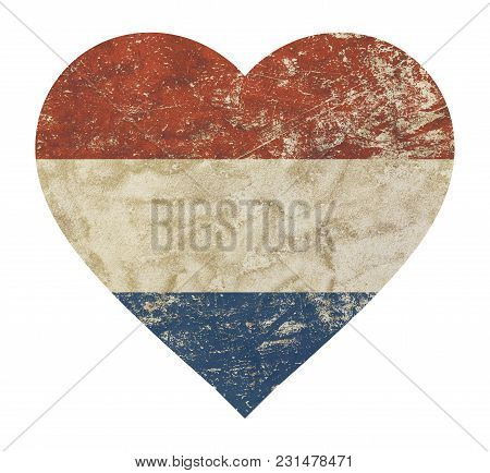 Heart Shaped Old Grunge Vintage Dirty Faded Shabby Distressed Dutch (holland, Kingdom Of The Netherl