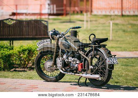 Gomel, Belarus - May 9, 2016: Imz M-52 Ural, The Old Rarity Soviet Two-wheeled Khaki Motorcycle, Sta