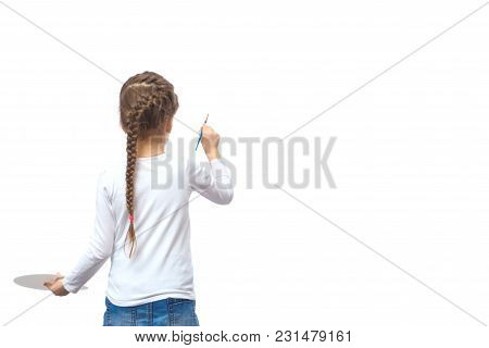 Family Creativity. A Little Girl Paints With Watercolors. Isolated On White Background.