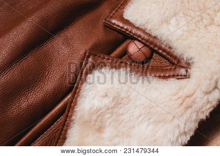 Fashion Brown Winter Jacket With Fur Close-up
