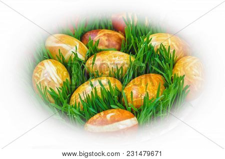 Brown Painted Beautiful Easter Eggs With Green Grass, Easter Background With White Bokeh Frame