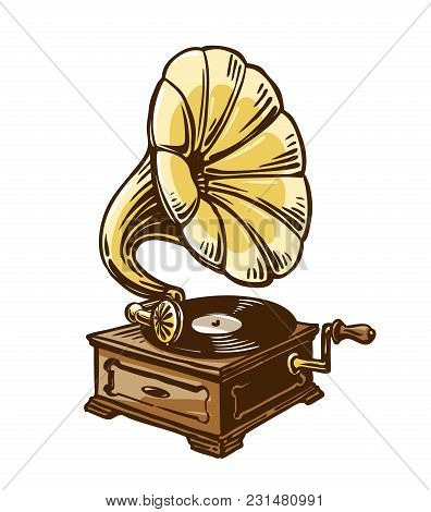Vintage Phonograph, Gramophone. Sketch Vector Illustration Isolated On White Background