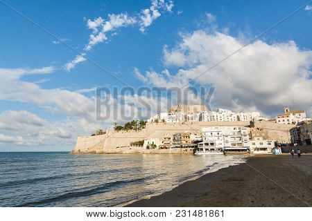 Peniscola, Spain - May 2017: View Over Peniscola Old Town From The Beach During Sunny Summer Day