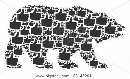 Bear Collage Composed Of Thumb Up Icons. Vector Thumb Up Items Are Composed Into Conceptual Bear Com