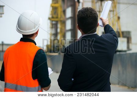 Boss Or Chief Shows A Construction Project And How To Build To Engineer. Business Modern Background