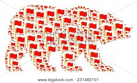 Bear Composition Organized Of Waving Flag Design Elements. Vector Waving Flag Design Elements Are Co