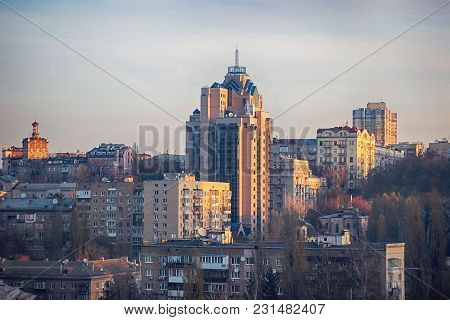 The Balconies Of Soviet Apartment Buildings At Cloudy Sunset