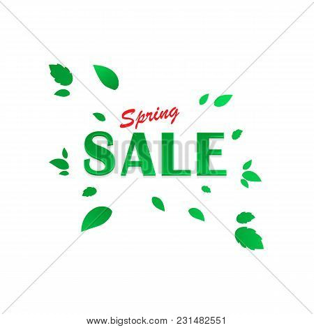 Spring Sale Background, Banner With Beautiful Green Leaves. Vector Eps 10 Illustration