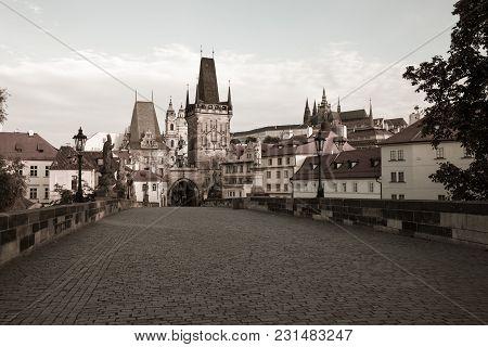 Vintage Style Image Of Charles Bridge, Prague, Czech Republic