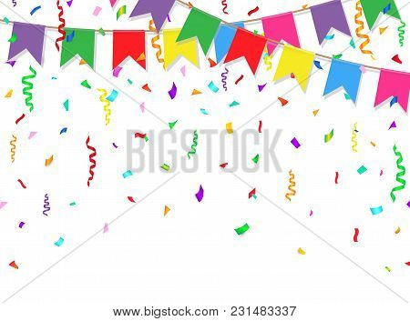 Celebration Banner. Party Flags With Confetti On White Background. Vector Illustration.