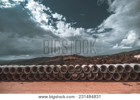 A Wide-angle Shooting Of The Rows Of Cement Soil-pipes On The Ground, Used For The Creation Of The S