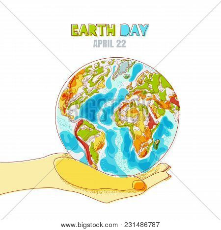 Vector Illustration Of Human Hand Holding Green Earth Planet. Save Earth Day, Environmental, Ecology