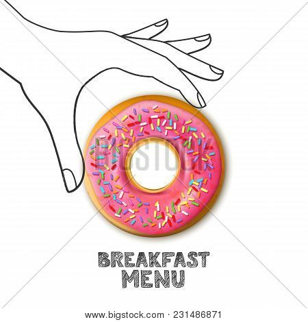 Breakfast Menu Concept. Pink Donut In Hand Drawn Human Hand Isolated On White Background. Vector Foo