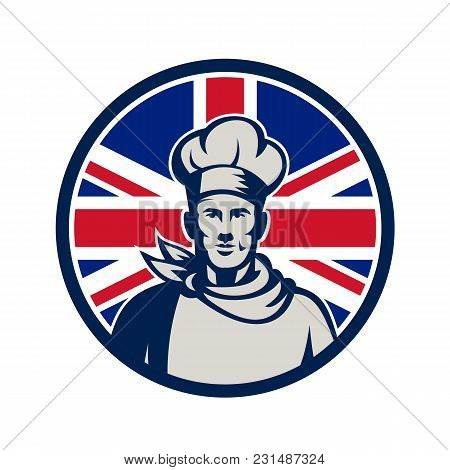 Icon Retro Style Illustration Of A Male British Baker, Chef Or Cook From Waist Up Viewed From Front