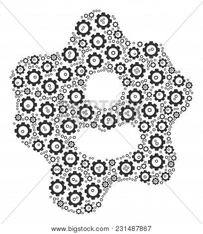Amoeba Composition Of Gear Elements. Vector Gear Symbols Are Composed Into Amoeba Mosaic.