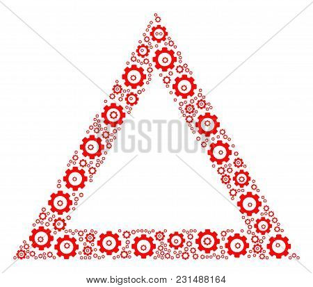 Contour Triangle Mosaic Of Gear Components. Vector Cogwheel Parts Are Combined Into Contour Triangle