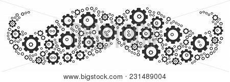 Gentleman Moustache Composition Of Tooth Gears. Vector Gear Wheel Parts Are Organized Into Gentleman