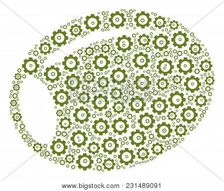 Olive Collage Of Cogs. Vector Cog Wheel Symbols Are Composed Into Olive Composition.