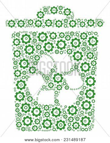 Recycle Bin Composition Of Cog Wheels. Vector Gear Components Are Combined Into Recycle Bin Figure.
