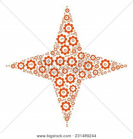Space Star Composition Of Vector Gears. Vector Cogwheel Elements Are Grouped Into Space Star Mosaic.