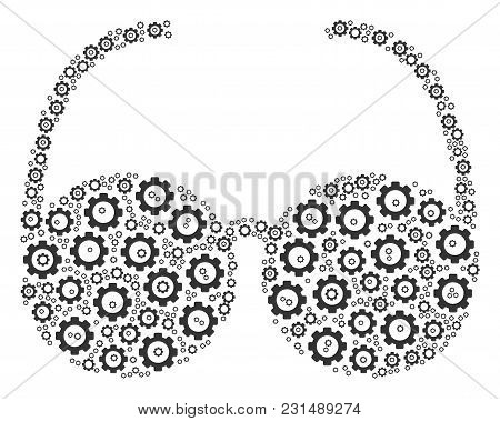 Spectacles Collage Of Tooth Gears. Vector Gear Symbols Are Organized Into Spectacles Figure.