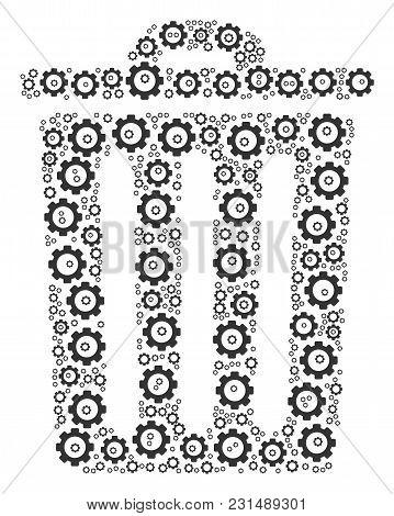 Trash Bin Mosaic Of Vector Gears. Vector Cog Wheel Components Are Combined Into Trash Bin Shape.