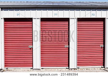 Numbered self storage and mini storage garage units IX