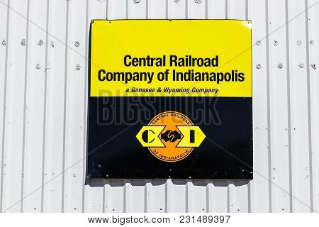 Kokomo - Circa March 2018: Central Railroad Of Indianapolis Signage And Office. Central Railroad Of