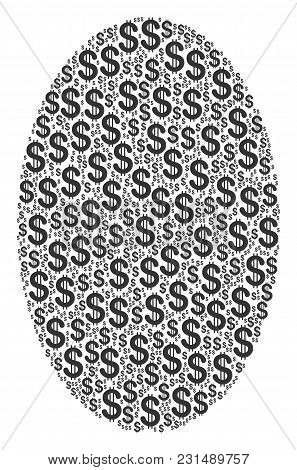 Filled Ellipse Mosaic Of Dollars. Vector Dollar Icons Are Composed Into Filled Ellipse Mosaic.