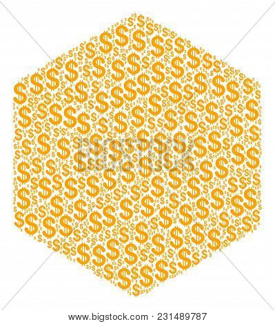 Filled Hexagon Composition Of Dollar Symbols. Vector Dollar Symbols Are Composed Into Filled Hexagon