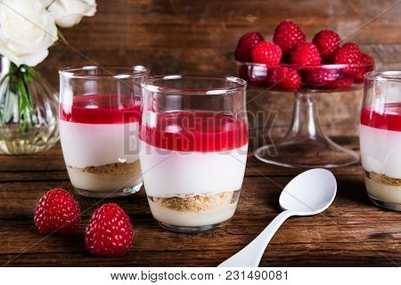 Raspberry Dessert From Whipped White Chocolate Mousse And Raspbe