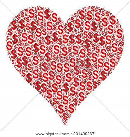 Hearts Suit Composition Of American Dollars. Vector Dollar Currency Symbols Are Grouped Into Hearts