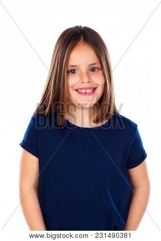 Happy small girl with long straight hair isolated on a white background