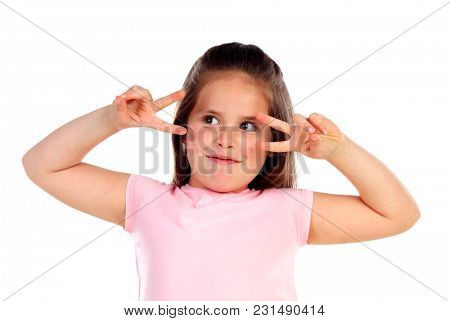 Funny small girl posing like a fashion woman isolated on a white background