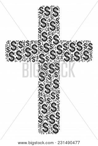 Religious Cross Mosaic Of American Dollars. Vector Dollar Pictograms Are United Into Religious Cross