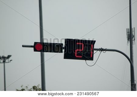 Traffic Light And Digital Red Color For Stop.