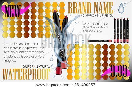 Cosmetic Product Make-up Eye Liner Promotion Ads. Pencils Vector Banner Design. Lipliner Pens For Co