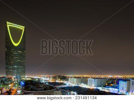 Riyadh City Capital Of Saudi Arabia Skyline At Night