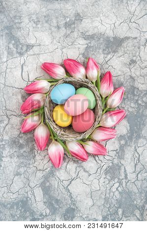 Easter Eggs And Tulip Flowers. Festive Floral Decoration