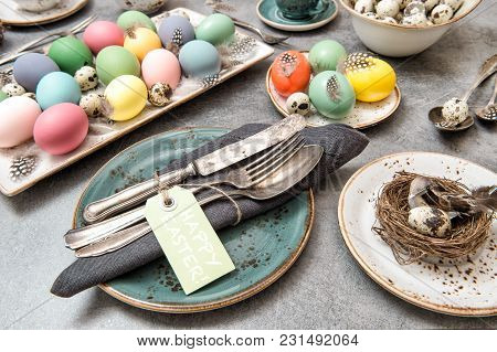 Easter Decoration Colorful Eggs. Holidays Food Background