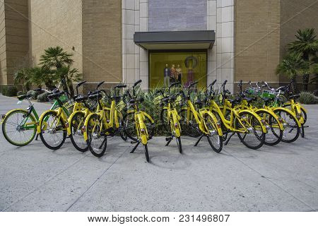 Scottsdale, Arizona Usa - March 11, 2018: Community Rental Bicycles For Public Use Using A Smart Pho