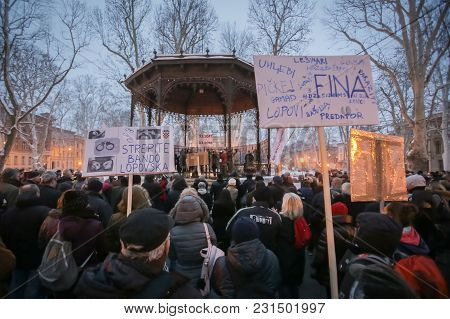 Zagreb, Croatia - 3rd March, 2018 : Protesters With Boards Protesting Against The Financial Enforcem