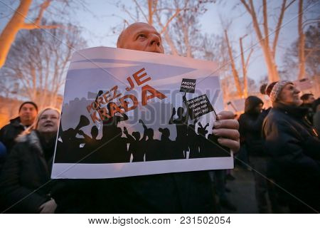Zagreb, Croatia - 3rd March, 2018 : Protester Holds The Sign Against Taxes On Protest Against The Fi