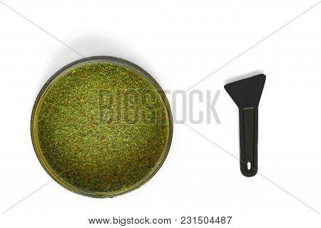 Kief In Grinder For Weedtrichomes Buds Of Cannabis Macro Top View