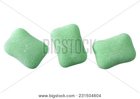 Green Chewing Gum Closeup Isolated On White