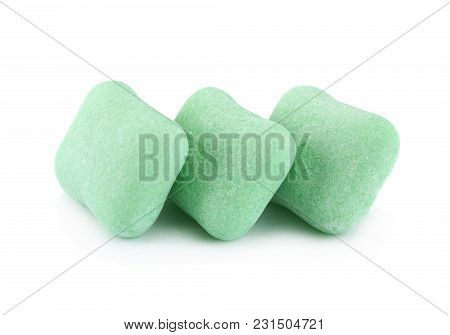 Green Chewing Gum Piece Macro Isolated On White Background
