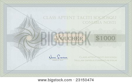 Voucher Guilloche blue green coupon