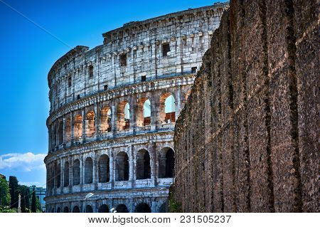 Rome, Italy - May 17, 2017: Coming Out From The Roman Forum, You See The Coliseum Again.