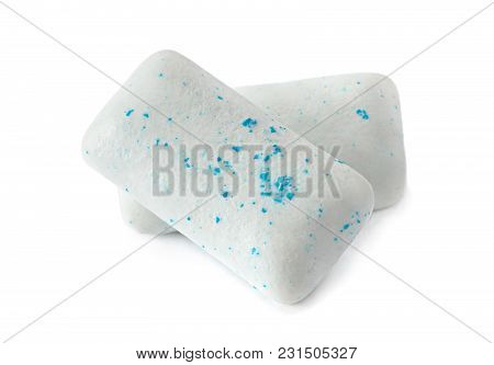Chewing Gum Piece Macro Isolated On White Background